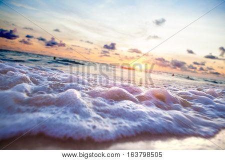 Beautiful sunset seascape. Sea scenic and beach. Exotic beach.