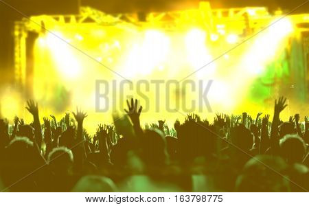 Live music background. Show and public.Concert and musicians on the stage