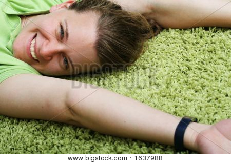 Young Woman On Carpet