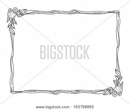 Marine themed frame - outline drawing isolated on white