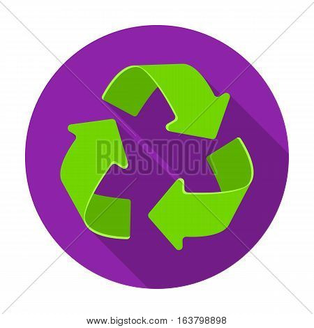 Green recycling sign icon in flat design isolated on white background. Bio and ecology symbol stock vector illustration.