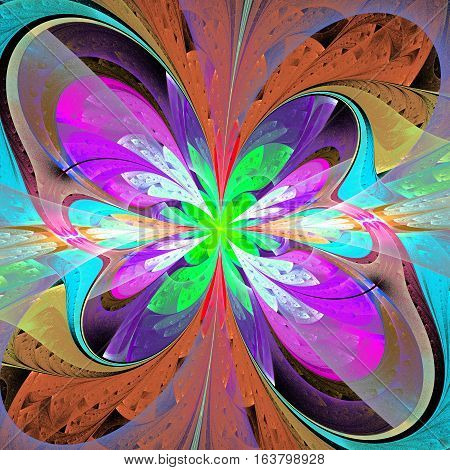 Multicolored asymmetrical fractal flower in stained glass window style. Element of design.