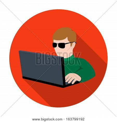 Computer hacker icon in flat design isolated on white background. Hackers and hacking symbol stock vector illustration.