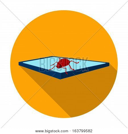Computer virus icon in flat design isolated on white background. Hackers and hacking symbol stock vector illustration.