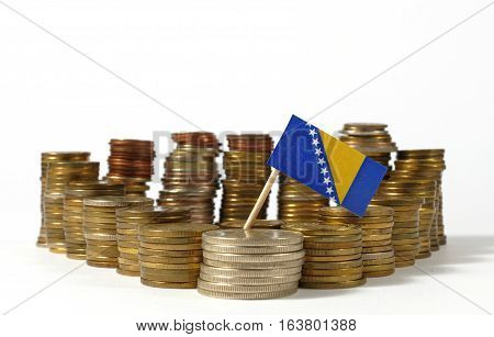 Bosnia And Herzegovina Flag Waving With Stack Of Money Coins
