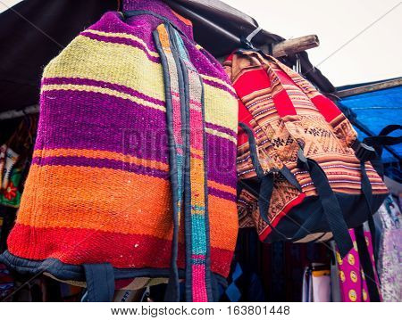 Colorful handbags at the feria de mataderos in Argentina