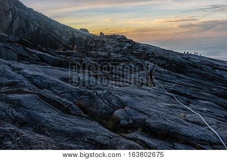 Ranau,Sabah-April 30,2014:View from Low's Peak of mountain Kinabalu,Sabah.Its the highest mountain in Malaysia is one of Borneo's most popular tourist attractions & climbers.