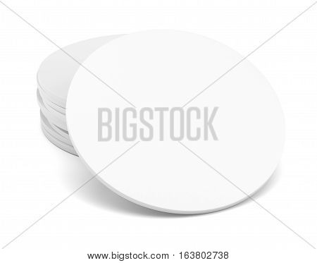 Empty white coaster. Isolated on white background. 3d illustration