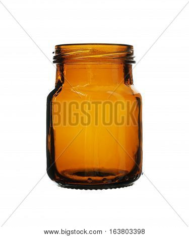 Short Brown Medicine Bottle isolated on white background Clipping Path