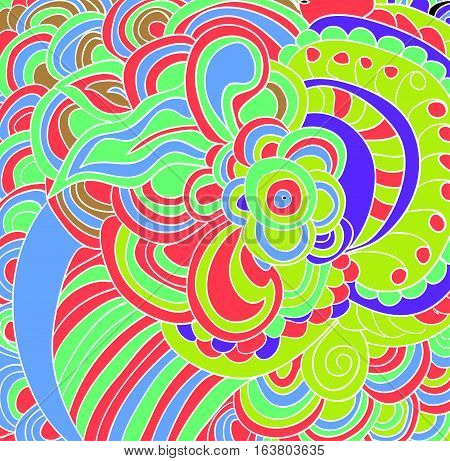 Vector colored lined pattern. Abstract kaleidoscopic background