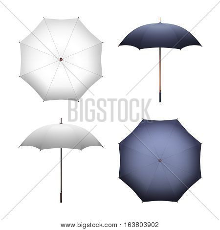 Blank white and black umbrella for merchandise and advertising vector illustration. Realistic parasol for protection form rain and sun