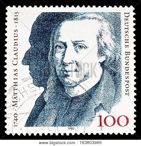 GERMANY - CIRCA 1990 : Cancelled postage stamp printed by Germany, that shows Mathias Claudius.
