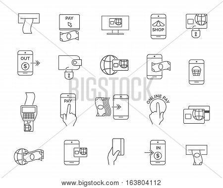 Phone or mobile payment, terminal and card shopping paying line icons. Pay online vector signs. Finance electronic transaction, vector illustration