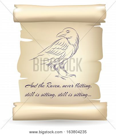 Raven sketch on paper scroll inspired by Edgar Allan Poe poetry vector illustration. Parchmentold with vintage antique crow