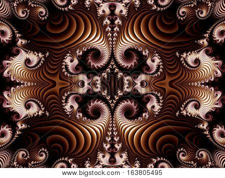 Fabulous brown fractal background with Spiral Pattern.