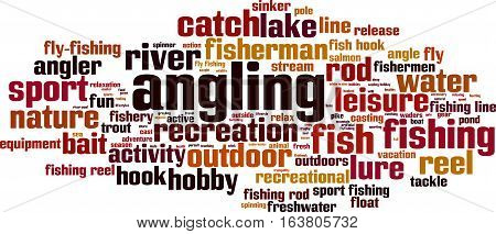 Angling word cloud concept. Vector illustration on white