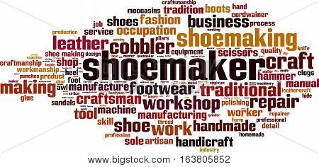Shoemaker word cloud concept. Vector illustration on white