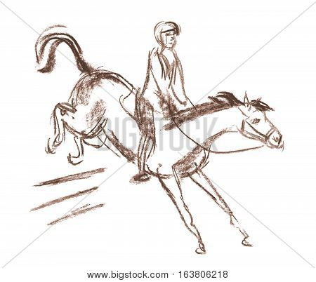 Horse and equestrian jockey racing. Horse jumps over a barrier. Hand-drawn