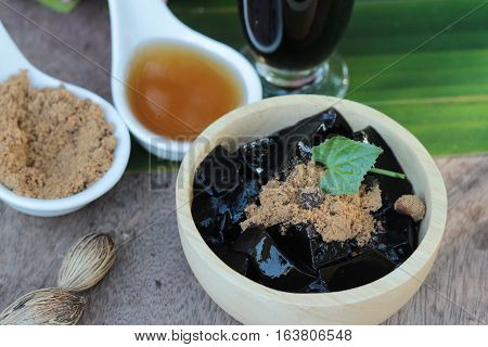 Grass Jelly with syrup and drink is delicious