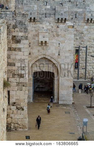 JERUSALEM ISRAEL - DECEMBER 8: View of the Jaffa Gate from wall of the Old City in Jerusalem Israel on December 8 2016