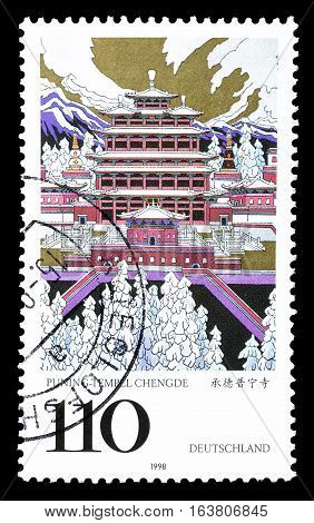 GERMANY - CIRCA 1998 : Cancelled postage stamp printed by Germany, that shows Puning temple.