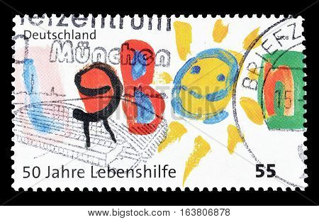 GERMANY - CIRCA 2008 : Cancelled postage stamp printed by Germany, that shows Children Drawing.