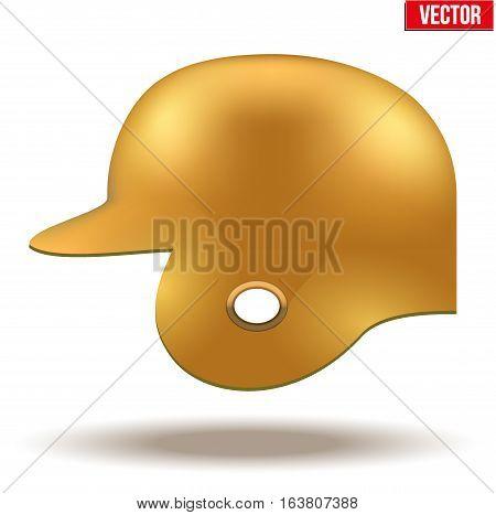 Classic baseball helmet. Orange color. Side view. Sample equipment for your design. Vector illustration Isolated on white background.