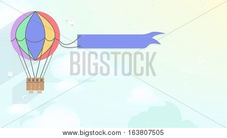 Advertising balloon airship. Vector cartoon style background