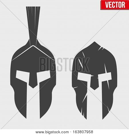 Set of Silhouette Spartan helmets. Vector Illustration isolated on background.