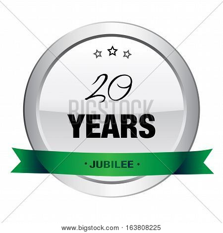 20 Years jubilee seal or icon. Silver seal or button with stars and green banner.