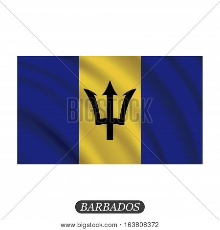 Waving Barbados flag on a white background. Vector illustration