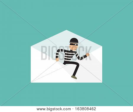 Thief walk out from phishing mail vector design