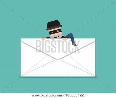 Thief climb out from phishing mail vector design