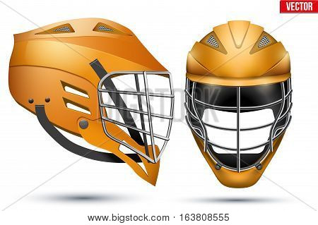 Orange Lacrosse Helmet Set. Front and Side View. Sport goods and equipment. Vector Illustration isolated on white background.