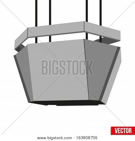 Indoor Advertising Cube LED Panel in stadium. Grey Color. Vector Illustration.