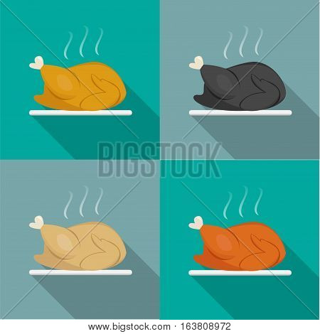 Side view Roast Whole chicken Turkey Duck vector