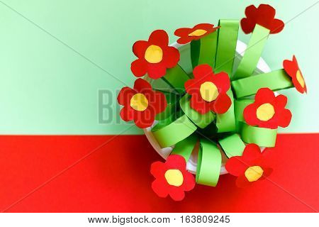 Paper kreativity flowers. Children's gift for mother's day. bouquet for mom