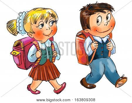 Boy and girl go to school. Hand-drawn