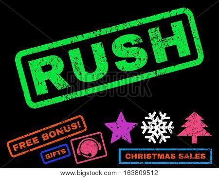 Rush text rubber seal stamp watermark with additional bonus new year symbols. Caption inside rectangular banner with grunge design and scratched texture.