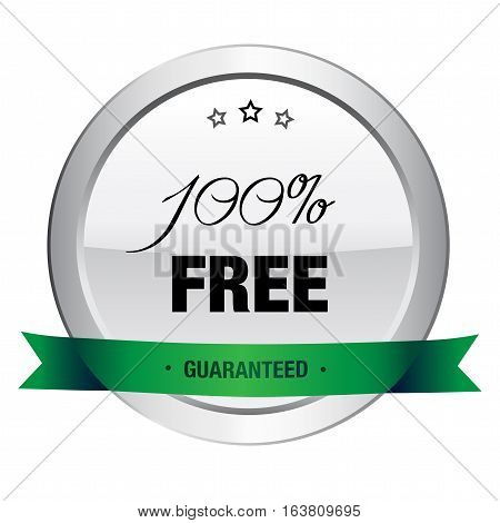 100% free seal or icon. Silver seal or button with stars and green banner.