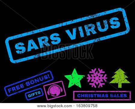 Sars Virus text rubber seal stamp watermark with additional bonus christmas symbols. Caption inside rectangular banner with grunge design and unclean texture.