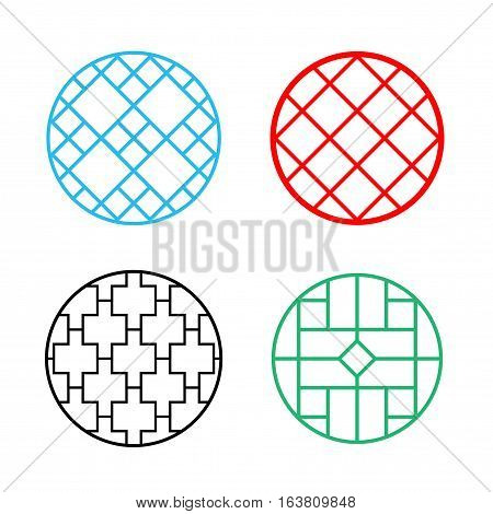 Modern Circle Chinese pattern window frame vector