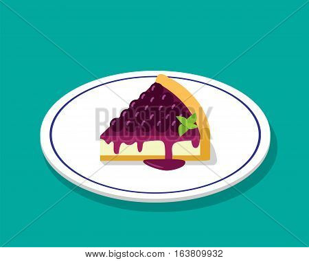 Blueberry cheese cake in 3D cartoon style vector design
