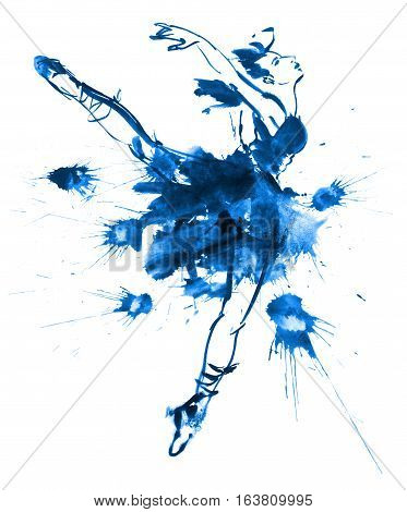 Blue ballerina drawing gouache. Isolated on white background