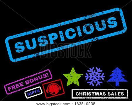 Suspicious text rubber seal stamp watermark with additional bonus new year symbols. Tag inside rectangular shape with grunge design and scratched texture.