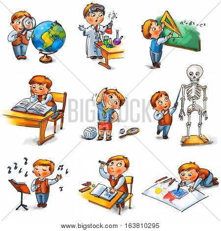 Back to school. Cute schoolchild at a lesson of geography literature physical education biology botany chemistry drawing drafting singing geometry. Hand-drawn