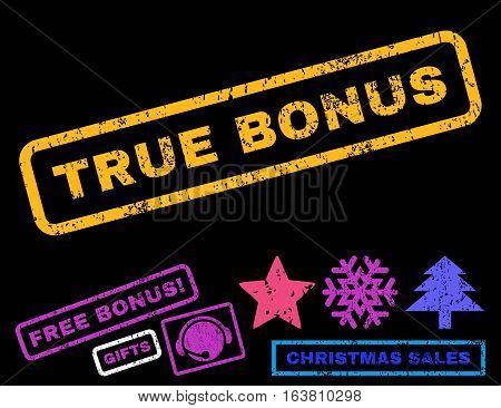 True Bonus text rubber seal stamp watermark with bonus christmas symbols. Tag inside rectangular banner with grunge design and scratched texture.