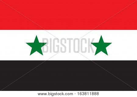 Flag of Syria officially the Syrian Arab Republic is a country in Western Asia. Vector illustration