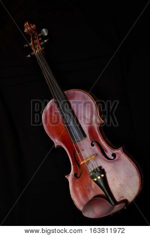 Wooden brown fiddle classical instrument music vertical