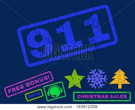 911 text rubber seal stamp watermark with additional bonus new year symbols. Caption inside rectangular banner with grunge design and scratched texture.